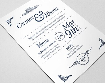Wedding Invitation: Personalised Stationery - Wedding Invite. Your Special Day
