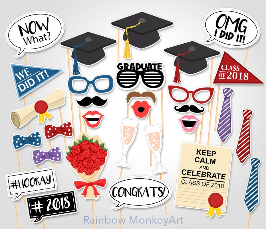 It is a photo of Shocking Free Printable Graduation Photo Booth Props