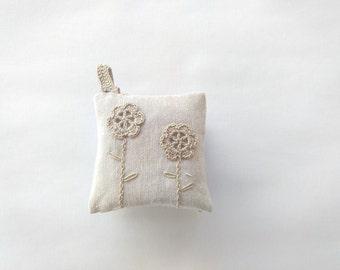 Lavender pillow, hanging fragrance, wedding favor, crochet rustic sachet with lavender, crochet hanging sachet