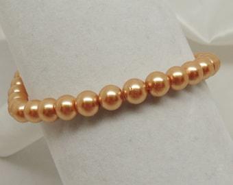 Gold Faux Pearl Stretch Bracelet