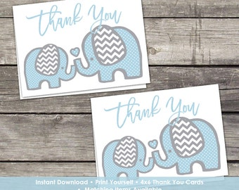 YOU PRINT Blue Elephant Thank You Cards - Baby Shower Thank You Cards - 4x6 - Instant Download Baby-102