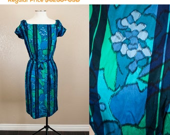 SALE 20% OFF   Blue Green Abstract Floral 1960s Wiggle Dress   S