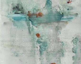 Watercolor blue gray and green. Original painting on paper