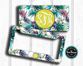 Tropical Floral Water Color License Plate , Car Plate, Monogram License Frame, Bicycle Tag, Front Car Tag, Personalized Tag 22LT