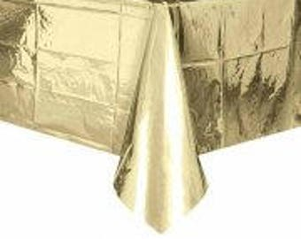 Gold Table Cover, Table Cloth, Birthday Party, Hen Party, Bachelorette, Baby Shower, Christening