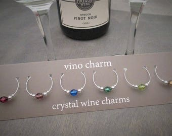 6 crystal wine charms | gift box | wine glass charms - unique wine gift - wine charm set - wine glass markers - wine party present SPC6-1