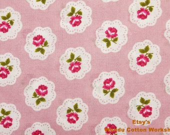 Rose in the Mirror with Pink - Cotton Fabric  - Fat Quarter -B10
