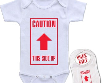 """Gift Shower Funny Cute Baby Bodysuit Custom """" CAUTION This Side Up """" Personalized Onesie 727"""