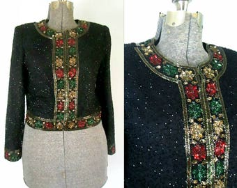 Holiday Beaded Sequined Cardigan Jacket // Black Green Red Gold Vintage Lawrence Lazar