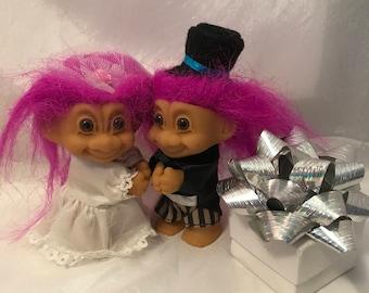 "Bride and Groom Russ Troll Hugging Dolls 3"" tall"