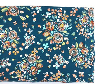 Crib Sheet- changing pad cover- SWIFTING FLORA TEAL- floral crib sheet- floral changing pad cover- girl baby bedding- floral baby bedding