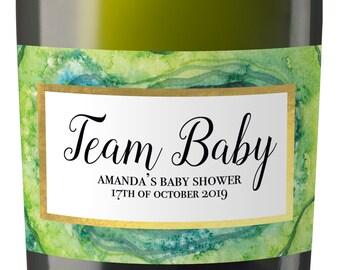 Set of 10 Baby Shower Custom Mini Champagne Label, Personalized Baby Shower Mini Champagne Label, Baby Shower Favor labels MN#56