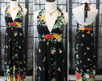 Vintage 90's Black Floral Halter Dress ByVOILA Boho Dress,Beach Dress,Hippie Dress,Flower Dress,Black Dress,Long Dress,Retro Dress,Mod Dress
