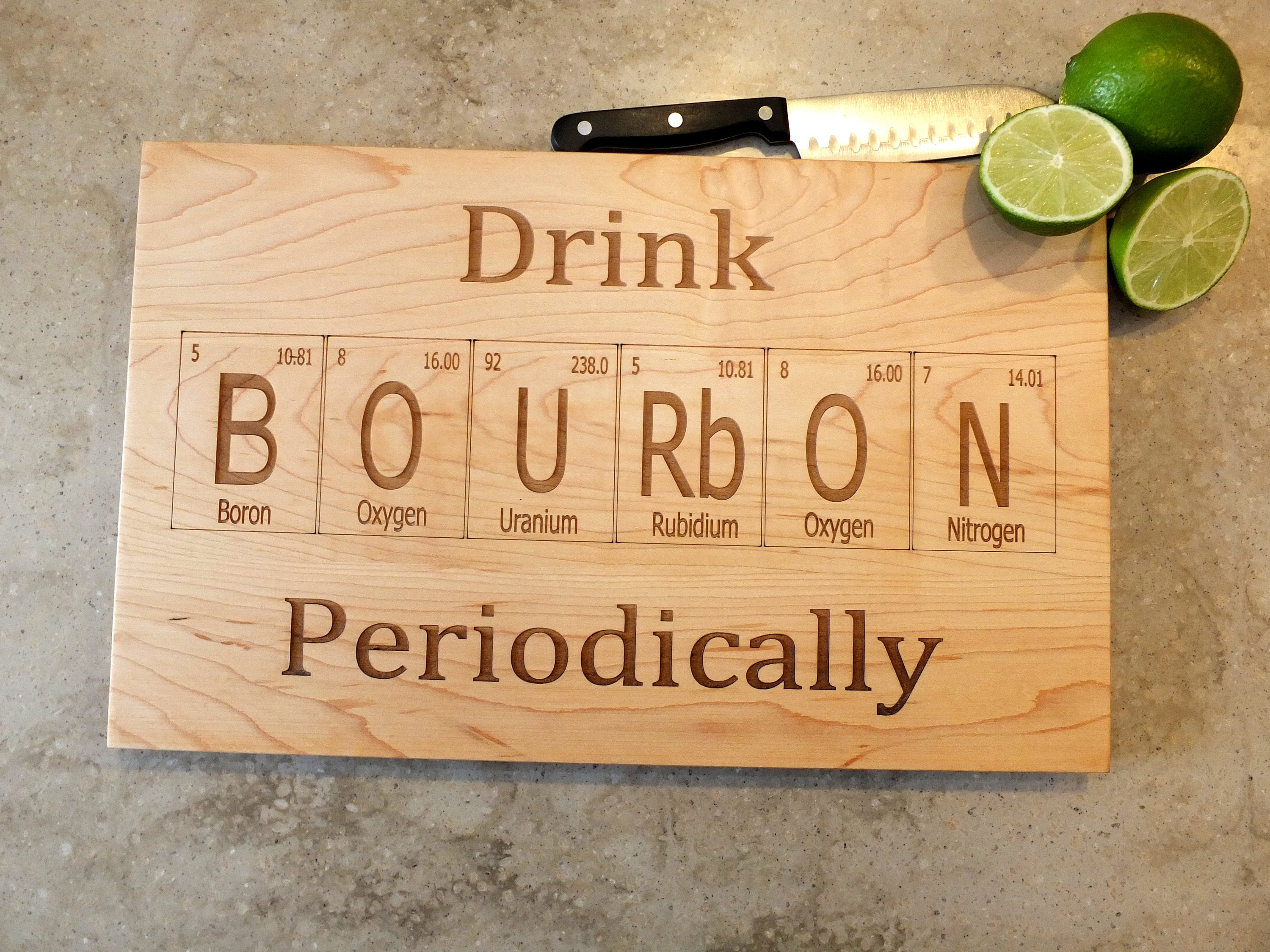 Drink bourbon periodic table inspired cutting board engraved on drink bourbon periodic table inspired cutting board engraved on maple walnut cherry or white oak wood bar kitchen housewarming gift urtaz Images
