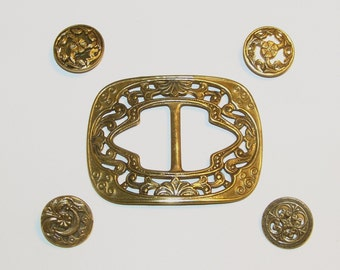 Lovely Ornate Art Nouveau Brass Buckle and Four Brass Buttons