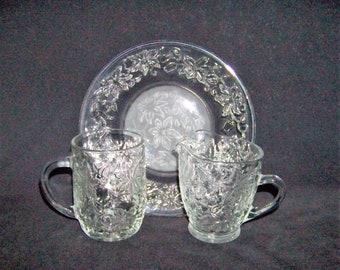 Princess House Crystal Glass Fantasia Luncheon Plate Handled Mug Creamer Lot of 3 & Princess house | Etsy