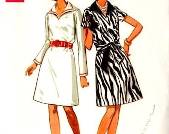 Butterick 5104 - Size 14  Bust 36 - 1970 Collared dress - A line Dress - Belted Dress - Vintage Sewing Pattern