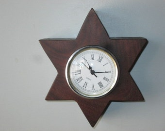 Star Clock-Star of David Clock-Star Mantle Clock- Recycled Wood Mantlerecycled wood clockClock-Dark Wood Clock-Handmade Clock-Small Clock-