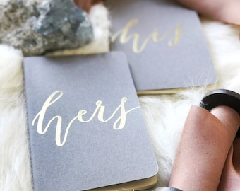 Set of Personalized Calligraphy Gold Embossed Wedding Vow Books, Gift Journal, Thank You Gift