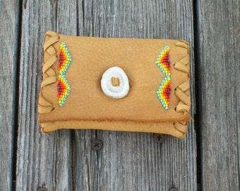 Beaded leather clutch ,   Mini Tarot case ,  Buckskin leather clutch ,  Small leather clutch