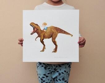 SALE Pirate girl riding Trex original artwork 32x30cm/11x12inch // dinosaur illustration - Original artwork christmas gift idea