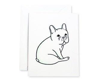 French Bulldog Sitting Letterpress Card