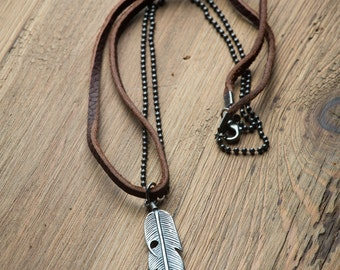 Leather Necklace // Men's Necklaces // Boho Necklace  // Mens Leather Necklace // Feather Necklace // Necklaces For Man