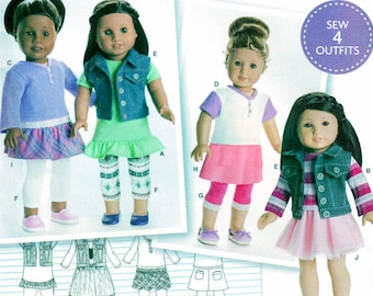 Simplicity 8041 Sewing Pattern, American Girl, 18 inch Doll Clothes, Sew Four Outfits, Tunic, Top, Vest, Leggings and Skirt Uncut/New