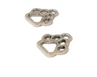 4 Paw Print Charm | Dog Paw Charm | Cat Paw Charm | Silver Paw Charm | Charm Bracelet | Ready to Ship from USA | SL327-4