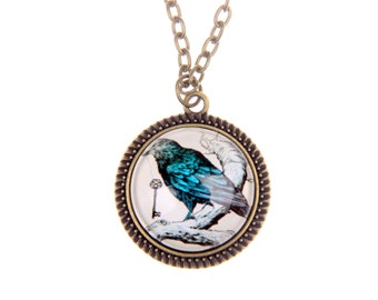 Raven Necklace, Raven jewelry, Gothic jewelry, Gothic necklace, gift for him, 2525C