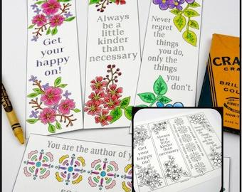 Inspiration coloring bookmarks floral design PDF -  book page illustration digital gift
