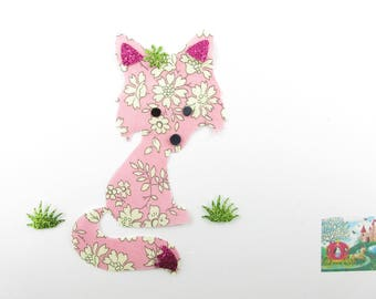 Applied fusing Wolf girl fabric liberty Capel fabric and pink glitter ironer liberty fusible patch applique
