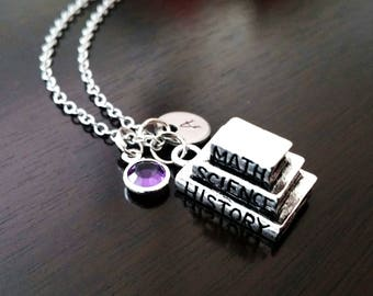 Teacher School Text Books Math Science History Teaching Gift Birthstone Initial Necklace