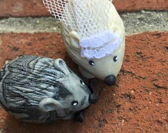 Mini Marble friends Hedgehog Wedding Couple Cake Topper  Set of Two  Bride and Groom Shown in icy pearl and black silver swirl