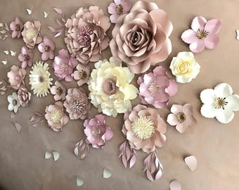 DUSTY PINK/NUDE paper flower backdrop/Paper flower wall/Wedding Backdrop/Christening/Bridal Baby shower/Sweet table/Cake table/Dessert table