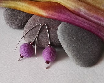 Lilac Felt Sterling Silver Drop Earrings