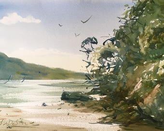 """Original Watercolour Painting Art """"St. Heliers"""" by Elise De Silva"""