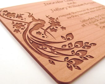 Engraved Wooden Wedding Invitation - Real Wood Invitation - Peacock Design
