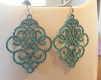 Vintage Turquoise Lace Filigree Earrings. G