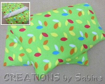 Corn Pillow Heating Pad Microwavable Pack washable cover therapy pad green leaves colorful flannel Heat Therapy / READY TO SHIP (537)