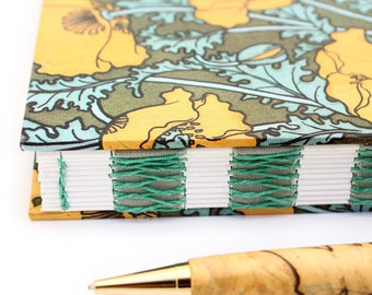 Orange Poppy Journal - Unlined Journal - French Link Journal - 144 pages - Handmade by Ruth Bleakley