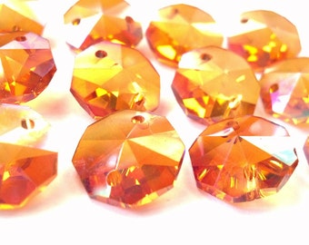 12 Iridescent Peach AB Chandelier Crystal 14mm Octagon Beads
