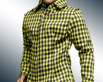mc0392 Men's Slim Fit  Yellow Black Checker Shirt for 1/6 Action Figure (Shirt ONLY)