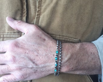 Mens Sterling Silver Stone Cuff Wrap Bracelet | The Boss | Sterling Silver Antiqued Chain with Turquoise, Tiger Eye or Black Spinel