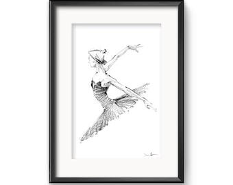 Ballet Dancer Sketch, Contemporary Wallart, Black and White Printable Home Decor Fine Art, Dance Drawings, Digital Download