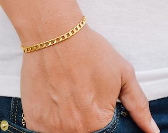 Gold bracelet, elegant 14k gold plated chain, bridesmaids gifts, flat chain bracelet. minimalist delicate jewelry, bridal wedding bracelet