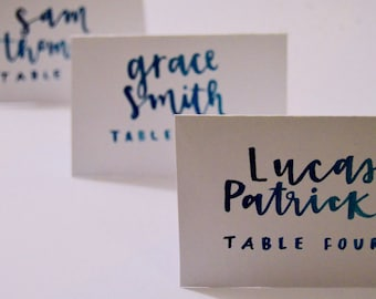 Custom Watercolor WEDDING Place Cards / Modern Calligraphy