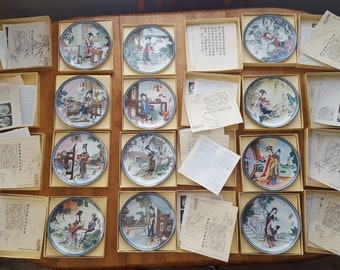 Complete Set of 12 Imperial Jingdezhen Beauties of the Red Mansion Porcelain Hand Painted Collector Plates by Master Artisan Zhao Huimin