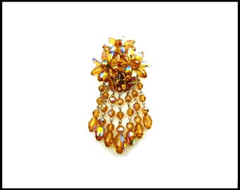 Amber Aurora Borealis Crystal Brooch, Topaz AB Crystal Waterfall, AB Crystal Fringe, Large Runway Style, Mothers Day Gift for Her