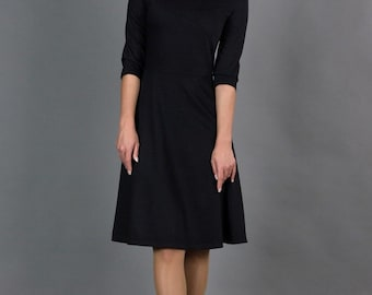 Elegant Black Dress by TAVROVSKA, Long Sleeve Flared Dress, Casual Dress, Cocktail Dress, Simple Black Dress